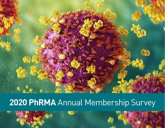"A teaser image showing a 3D rendering of a virus cell behind a headline reading ""2020 PhRMA Annual Membership Survey"""