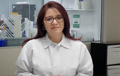 Headshot of Mireli Fino, Site Head of Protein Sciences with Sanofi, in a cut from the video called In Common, from PhRMA
