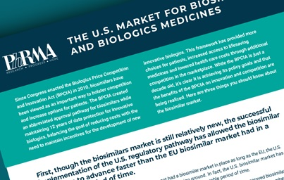 "A teaser image of PhRMA's fact sheet entitled ""THE U.S. MARKET FOR BIOSIMILARS AND BIOLOGICS MEDICINES"""