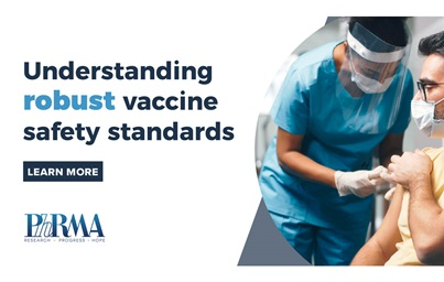"A graphic showing a health care worker administering a vaccine to a patient, to the right of a headline reading ""understanding robust vaccine safety standards"""