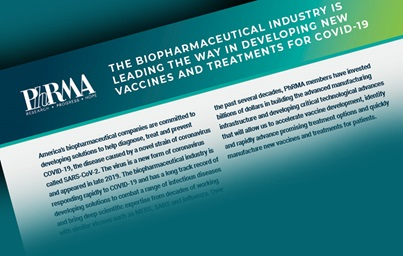 "A graphic depicting PhRMA's fact sheet entitled ""The Biopharmaceutical Industry is leading the way in developing covid-19 vaccines and treatments"