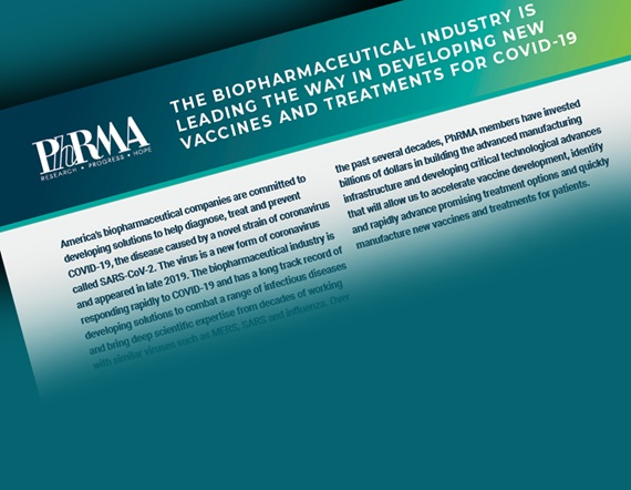 "A graphic showing PhRMA's fact sheet entitled ""The Biopharmaceutical Industry is Leading the Way in Developing new vaccines and treatments for COVID-19"""