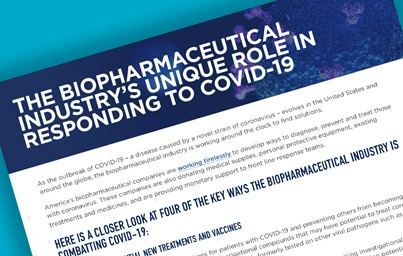 "A teaser image featuring PhRMA's Fact sheet, with the title displaying: ""The Biopharmaceutical Industry's Unique Role in Responding to COVID-19"""