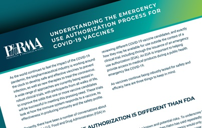 A teaser image of PhRMA's fact sheet on understanding the emergency use authorization process for covid-19 vaccines