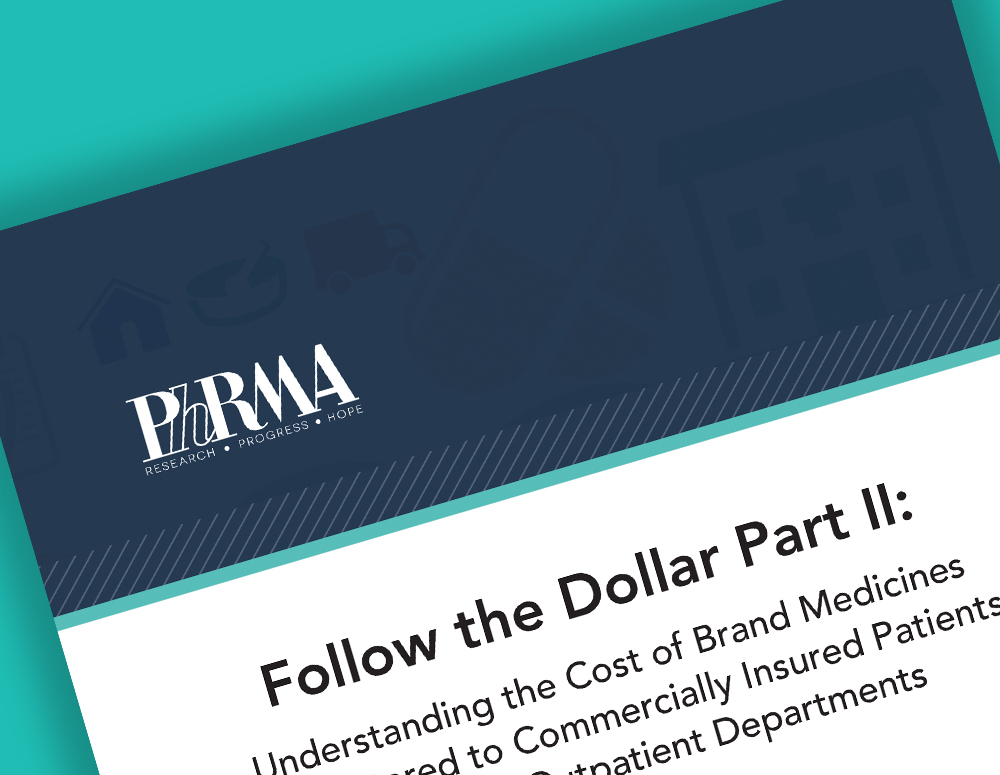 "An image of PhRMA's second Follow the Dollar report, showing the title ""Follow the Dollar Part 2"""