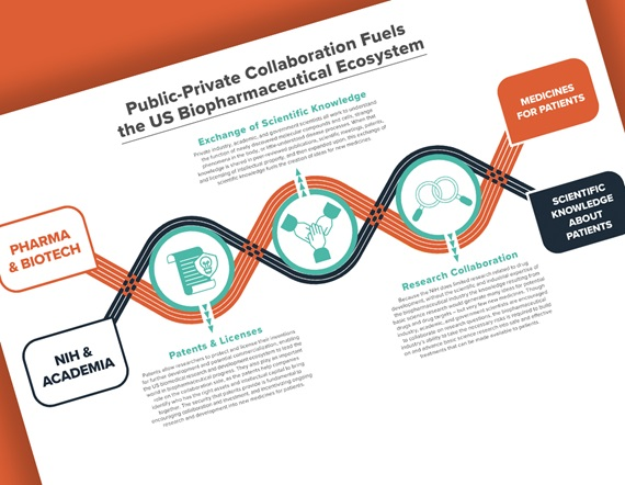 An image featuring PhRMA's infographic on Public-Private Collaboration in the biopharmaceutical ecosystem