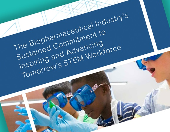 A teaser image displaying the first page of PhRMA's report, displaying the title text: The Biopharmaceutical Industry's Sustained Commitment to Inspiring and Advancing Tomorrow's STEM Workforce