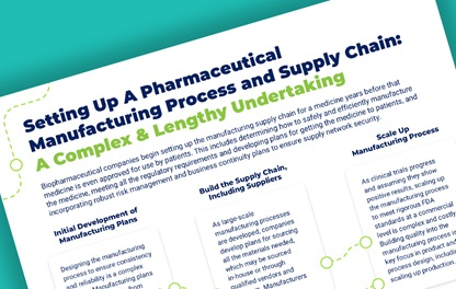 "A teaser image featuring PhRMA's recent report titled ""Setting up a Pharmaceutical Manufacturing Process and Supply Chain: A Complex and Lengthy Undertaking"""