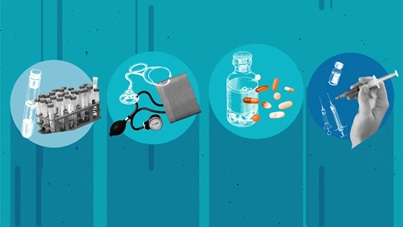 Graphic showing test tubes in a rack, a stethoscope, pills and pill bottles, and a hand holding a syringe