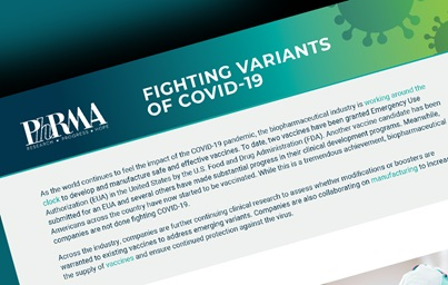 "An illustration of PhRMA's fact sheet entitled ""Fighting Variants of COVID-19"""